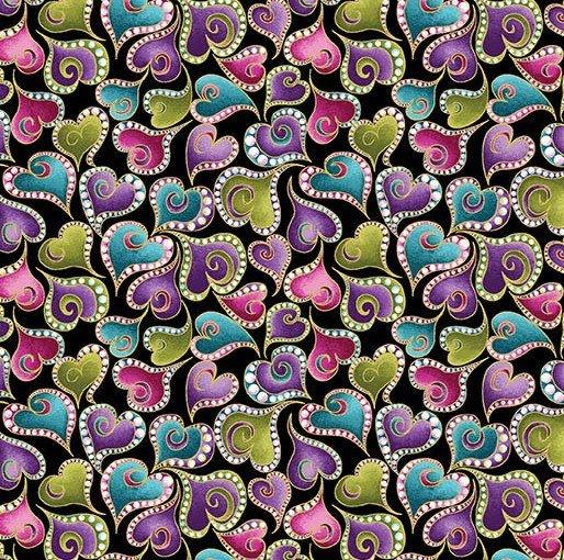 NEW! Cat-I-Tude by Ann Lauer - Grizzly Gulch Gallery - Per yard - Benartex - Large multi-colored paisley on black - RebsFabStash