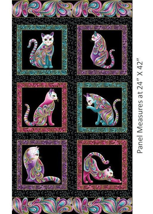 NEW! Cat-I-Tude by Ann Lauer - Grizzly Gulch Gallery - Per yard - Benartex - Large multi-colored paisley on white - RebsFabStash