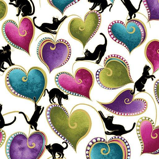 NEW! Cat-I-Tude by Ann Lauer - Grizzly Gulch Gallery - Per yard - Benartex - Medium Hearts and cats on Black - RebsFabStash