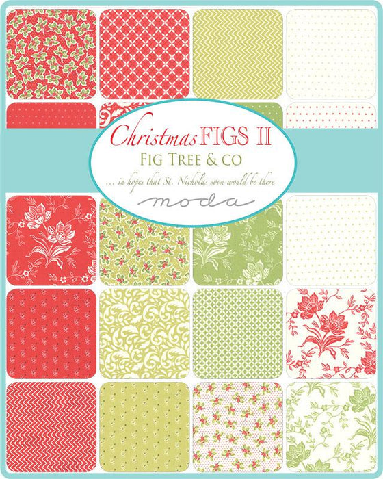 New! Christmas Figs II - Snowflake Holly Twinkle Stars - by the yard - Joanna Figueroa - Fig Tree & Co - MODA - Fun, retro holiday prints - ivory - RebsFabStash