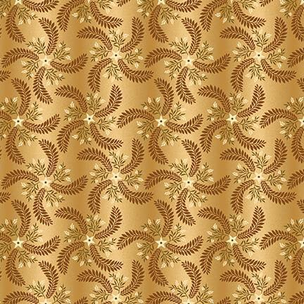 New! Country Journey - Pinwheel Ombre - per yard - by Jan Mott of Crane Designs for Henry Glass - 2434-33 Cream/Gold - staggered star, wheat, leaf design - RebsFabStash