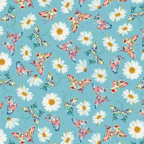 New! Daisy Meadow - Daisies - per yard - Designed by Turnowsky for Quilting Treasures - AQUA - 27803-Q - RebsFabStash