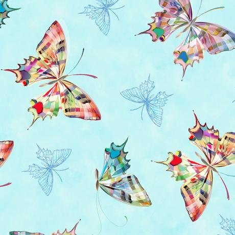 New! Daisy Meadow - Daisy & Butterfly Double Border - per yard - Designed by Turnowsky for Quilting Treasures - AQUA - 27801-Q - RebsFabStash