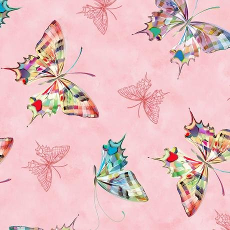 New! Daisy Meadow - Packed Butterflies - per yard - Designed by Turnowsky for Quilting Treasures - RED - 27804-R - RebsFabStash