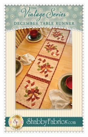 "New! December Table Runner- Pattern - by Shabby Fabrics - 12 1/2"" x 53"" - The Vintage Series - RebsFabStash"