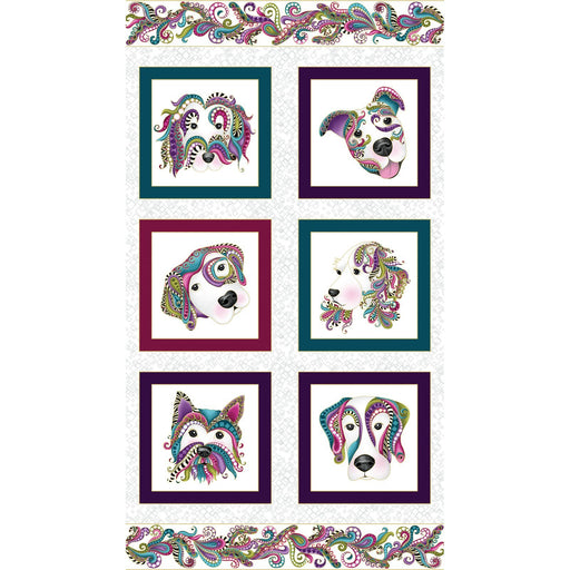 NEW! Dog On It - Ann Lauer - Grizzly Gulch Gallery - PANEL - Benartex - Dogs on white 6250M-09 - Dog fabric - RebsFabStash