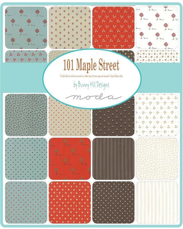 "NEW! Early Release! Maple Street - (40) 2.5"" strips - Jelly Roll - Bunny Hill Designs - brown, white, fall aqua, leaves, dots, acorns - RebsFabStash"