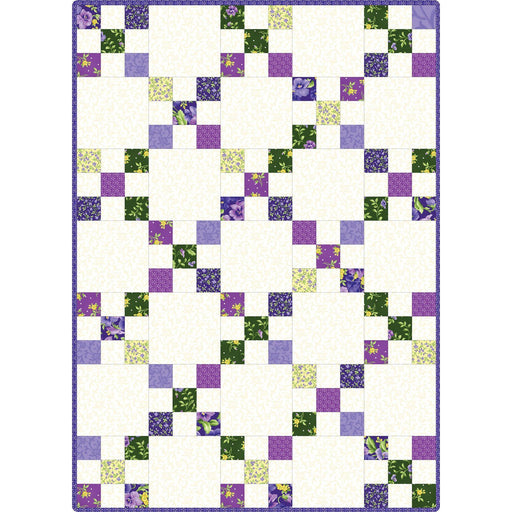 NEW! Emma's Garden - Irish Chain Precut Quilt Kit- POD - Maywood - by Debbie Beaves - Beautiful pansies and purple, white, green! - RebsFabStash