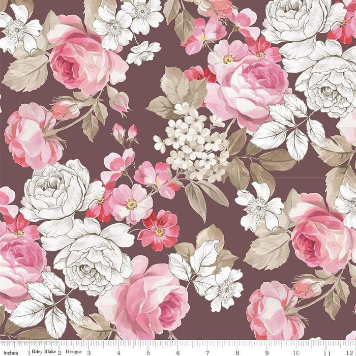 NEW! English Rose by Penny Rose Studio - Per Yard - Beautiful pinks and browns and roses! - Small rose wreath on cream - RebsFabStash