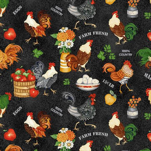 NEW! Farm Raised - per yard - by Gail Green for Henry Glass - Red Tossed Chickens - 1977 88 - RebsFabStash