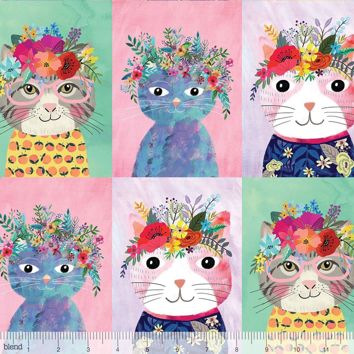 "New! - Floral Pets - Floral Kitty Multi PANEL - 24"" x 43"" Panel - by Mia Charro - Blend Fabrics - 3 cute kitty portraits - 129.101.02.1 - RebsFabStash"