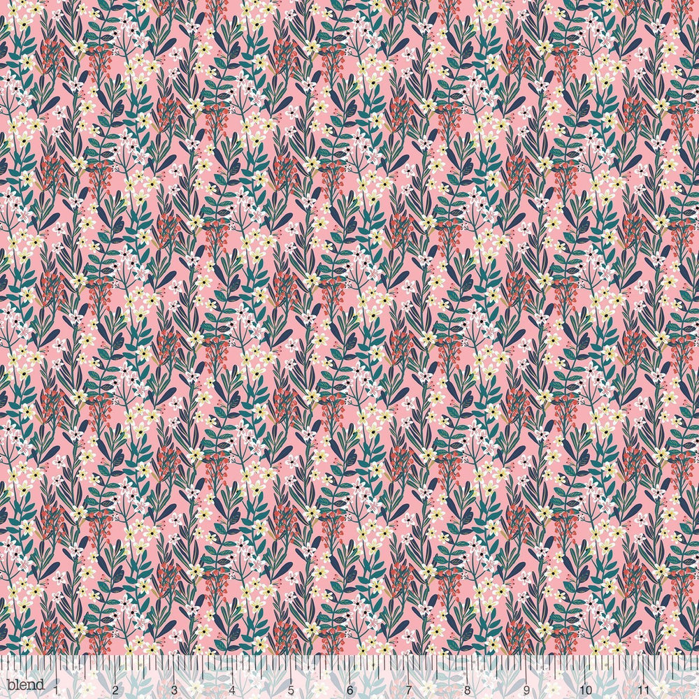 New! - Floral Pets - Hanna Pink - per yard - by Mia Charro - Blend Fabrics - dense foliage & flowers on PINK - 129.101.05.1 - RebsFabStash