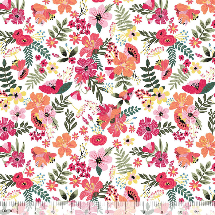 New! - Floral Pets - Haruko Pink - per yard - by Mia Charro - Blend Fabrics - scattered tiny yellow/orange fruit on PINK - 129.101.06.2 - RebsFabStash
