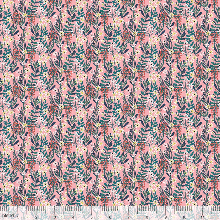 New! - Floral Pets - Sigrid Pink - per yard - by Mia Charro - Blend Fabrics - cream floral outlines on PINK - 129.101.04.3 - RebsFabStash