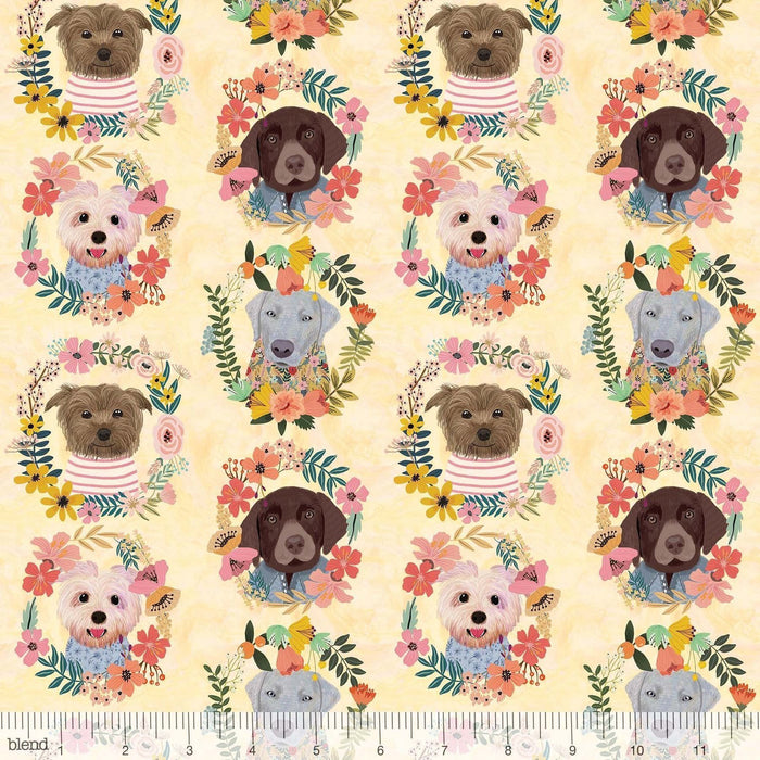 New! - Floral Pets - Sigrid Turquoise - per yard - by Mia Charro - Blend Fabrics - cream floral outlines on TURQUOISE - 129.101.04.1 - RebsFabStash
