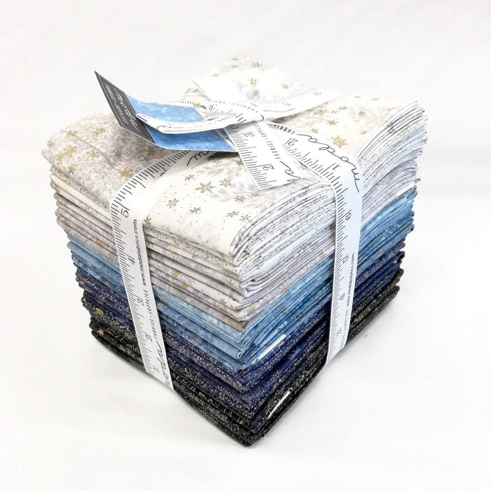 "NEW! Forest Frost Glitter - Jelly Roll - (40) 2.5"" Strips - MODA - metallic gold & silver - cream, blue, navy, & black - RebsFabStash"