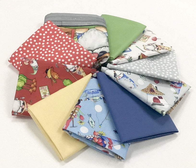 "New! Gnomesville - PROMO Fat Quarter Bundle + PANEL - (9) 18"" x 21"" pieces - panel (24""x 43"") - Desiree's Designs - Quilting Treasures - RebsFabStash"