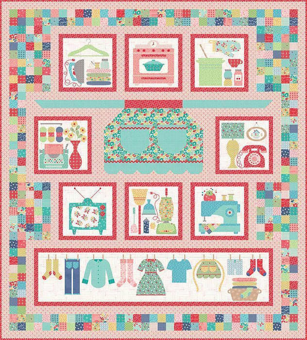 New! Happy Flowers Table Runner Kit - Uses Lori Holt Vintage Happy 2 Fabric Collection - From Quilters Cottage Pattern Book - Riley Blake - RebsFabStash