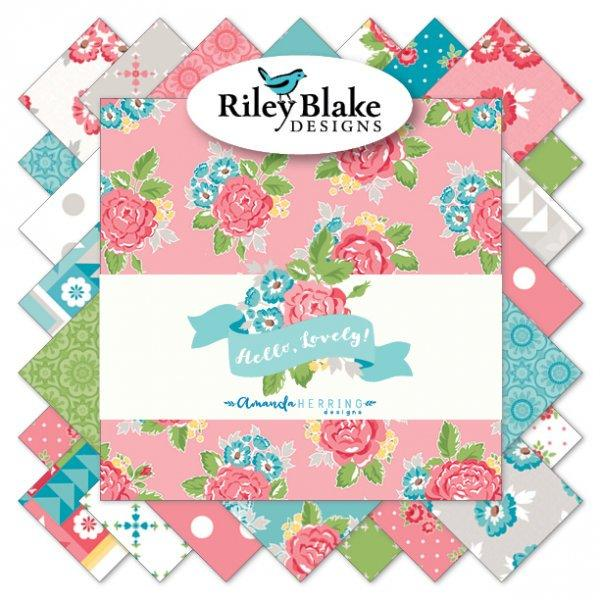 NEW! Hello Lovely- per yard - Riley Blake - by Amanda Herring - Join her Quilt Along - Friendship Quilt! - small flowers on dark pink C7243 - RebsFabStash