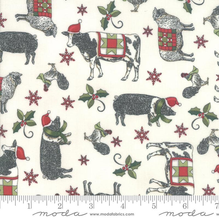 NEW! Homegrown Holidays Fabric - per yard - by Deb Strain for MODA - Farm Black Holiday Greenery - 19944 16 - RebsFabStash