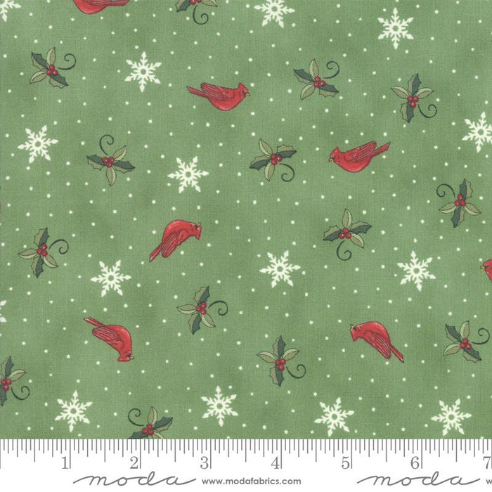 NEW! Homegrown Holidays Fabric - per yard - by Deb Strain for MODA - Silo Grey Cardinals and Greenery - 19945 12 - RebsFabStash