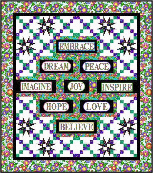 New! Inspiration Quilt Kit - Uses Alpha Doodle fabrics by Debi Payne for Quilting Treasures - Pattern by Pat Syta & Mimi Hollenbaugh - RebsFabStash