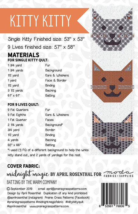New! Kitty Kitty - Prairie Grass Patterns by April Rosenthal - RebsFabStash