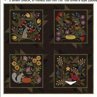 NEW! -Lap - Wall Hanging PATTERN -Bonnie Sullivan -Flannel - Wool Applique -Primitive: By a Hare-Squirrel it Away-Build a Nest-Cardinal Rule - RebsFabStash