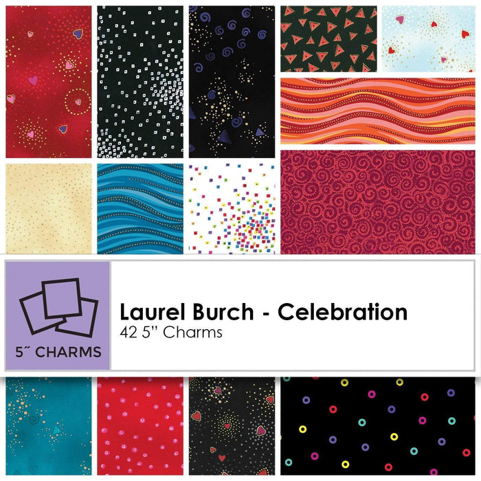 "NEW! Laurel Burch - Celebration - Charm Pack - Clothworks - (42) 5"" Squares - Quilt Market release! - RebsFabStash"