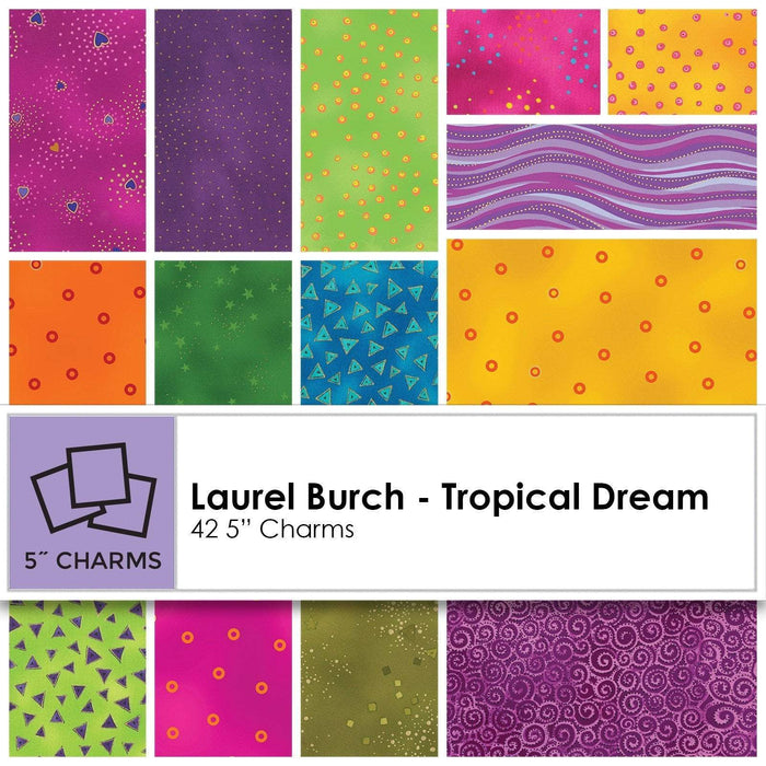 "NEW! Laurel Burch - Tropical Dream - Charm pack - Clothworks - (42) 5"" Squares - Quilt Market release! - RebsFabStash"