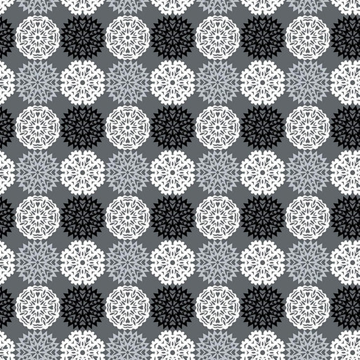 NEW! Let it Snow - Contempo (Benartex) - by Cherry Guidry Per Yard - Christmas, snowmen, snowflakes - Snowflakes on grey/charcoal - RebsFabStash
