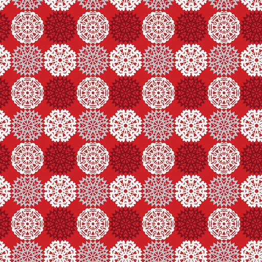 NEW! Let it Snow - Contempo (Benartex) - by Cherry Guidry Per Yard - Christmas, snowmen, snowflakes - Snowflakes on red - RebsFabStash