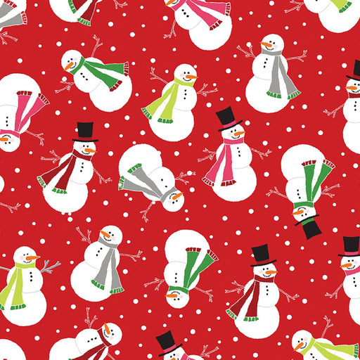 NEW! Let it Snow - Contempo (Benartex) - by Cherry Guidry Per Yard - Christmas, snowmen, snowflakes - Tossed snowmen on red - RebsFabStash