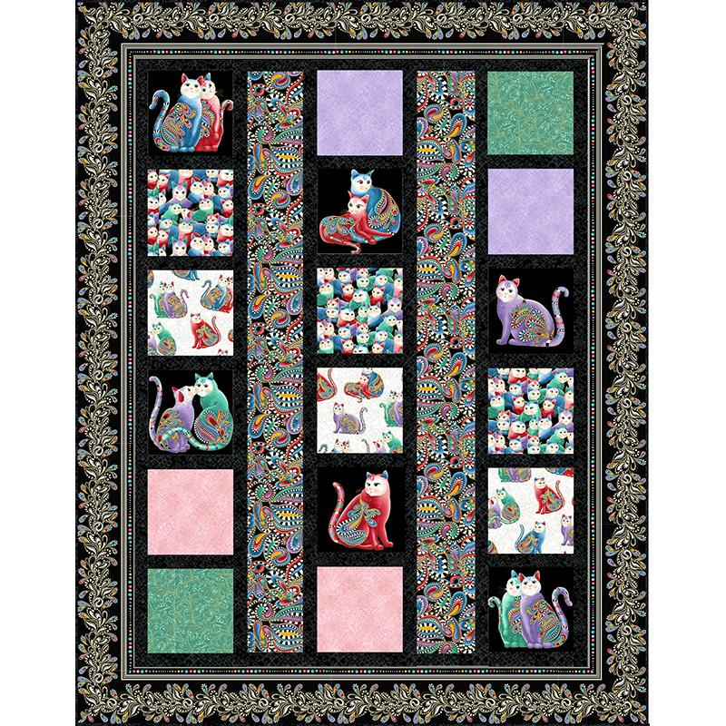 New! Line Dance - Quilt Pattern - by Ann Lauer - Includes instructions for Lap, Twin, Queen & King Quilt! Uses Cat-I-Tude 2 Collection! - RebsFabStash