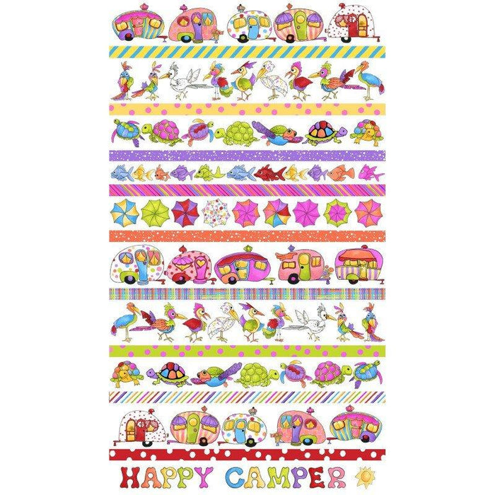 NEW! Loralie Happy Camper Collection - Camping, fishing, turtles! - Per yard - Loralie Harris Designs - Border print on black (stripe) - RebsFabStash