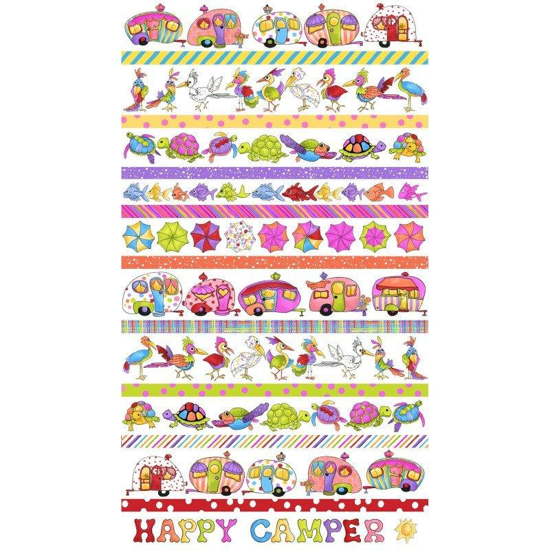 NEW! Loralie Happy Camper Collection - Camping, fishing, turtles! - Per yard - Loralie Harris Designs - Border print on white (stripe) - RebsFabStash