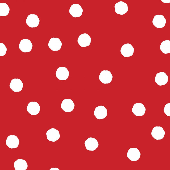 NEW! Loralie Happy Camper Collection - Camping, fishing, turtles! - Per yard - Loralie Harris Designs - White dots on red - RebsFabStash
