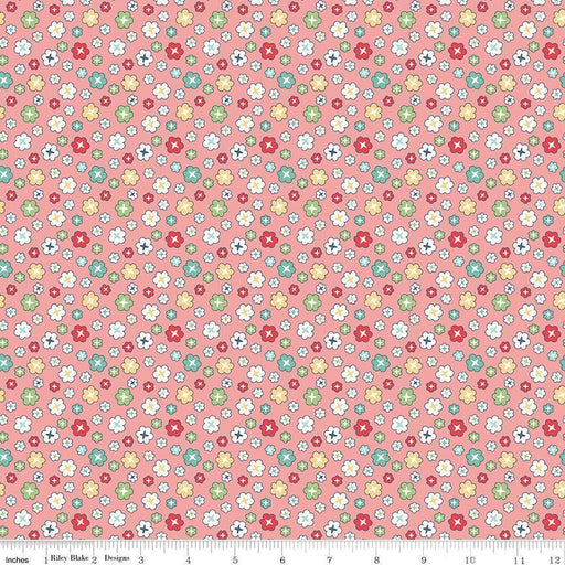 "NEW! Lori Holt Vintage Happy 2 Fabric -Per Yard -Riley Blake - WIDE BACK 108"" wide Blossom on CORAL WB9136 - RebsFabStash"