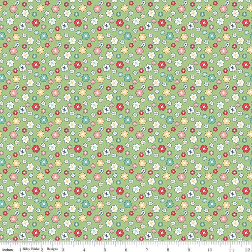 "NEW! Lori Holt Vintage Happy 2 Fabric -Per Yard -Riley Blake - WIDE BACK 108"" wide Blossom on GREEN WB9136 - RebsFabStash"