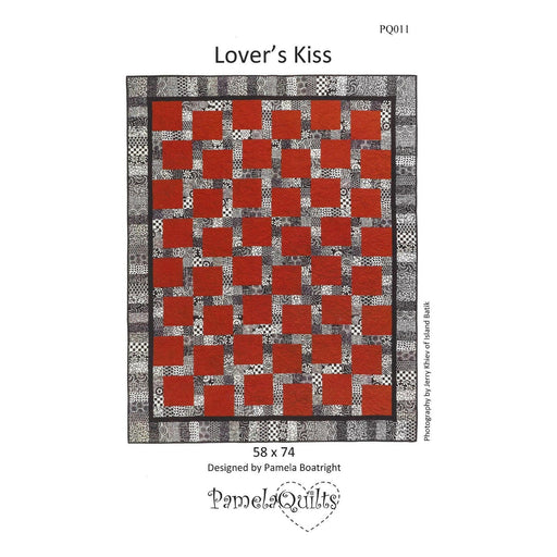 "New! Lover's Kiss Quilt KIT - pattern by Pamela Boatright for Pamela Quilts - Uses Island Batiks fabrics - finished size 58"" x 74"" - Red, Black & White - RebsFabStash"