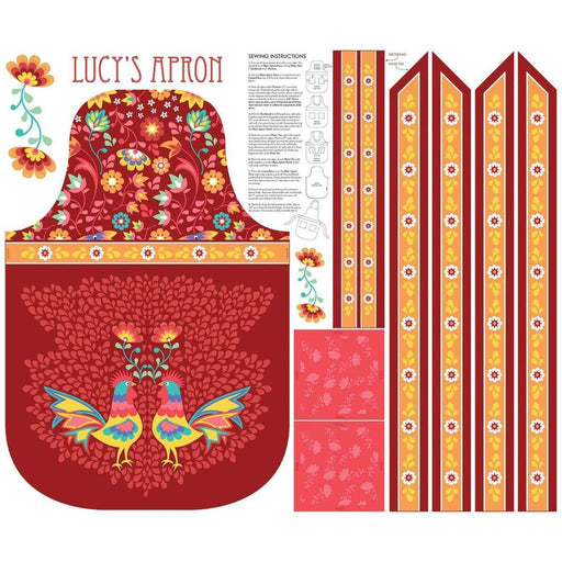 NEW!! Lucy's Garden by Patty Young - PANEL - Riley Blake - APRON PANEL RED - RebsFabStash