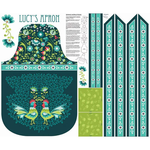 NEW!! Lucy's Garden by Patty Young - PANEL- Riley Blake - APRON PANEL TEAL - RebsFabStash