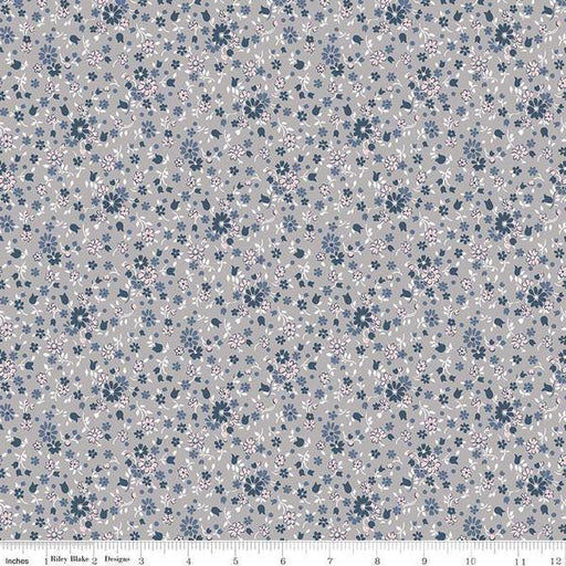 NEW! Majestic - Per Yard - Penny Rose - by Gerri Robinson - Navy, floral, white, grey, pink beautiful! - Medium Tossed floral on White - RebsFabStash