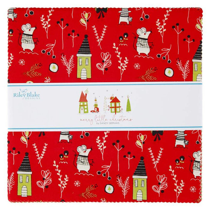 "New! Merry Little Christmas - Charm Pack - (42) 5"" x 5"" squares - Stacker - Sandy Gervais - Riley Blake - Fun cute holiday design - RebsFabStash"