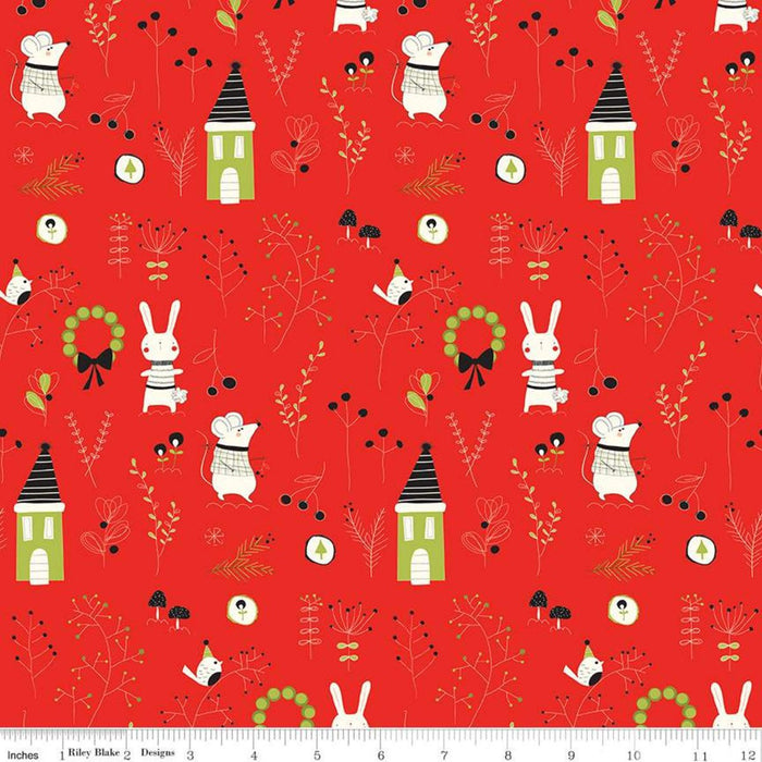 New! Merry Little Christmas - Hexie Cream - by the yard - Sandy Gervais - Riley Blake - Fun cute holiday design - C9649-CREAM - RebsFabStash