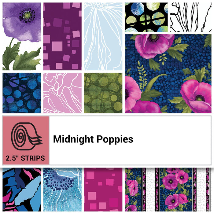 "NEW! Midnight Poppies by Ann Lauer -Grizzly Gulch Gallery - Jelly Roll (40) 2.5"" strips -GORGEOUS! Purple, pink, blue! - RebsFabStash"