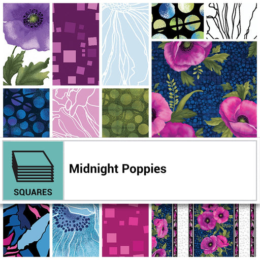 "NEW! Midnight Poppies by Ann Lauer -Grizzly Gulch Gallery - Layer Cake (42) 10"" squares -GORGEOUS! Purple, pink, blue! - RebsFabStash"