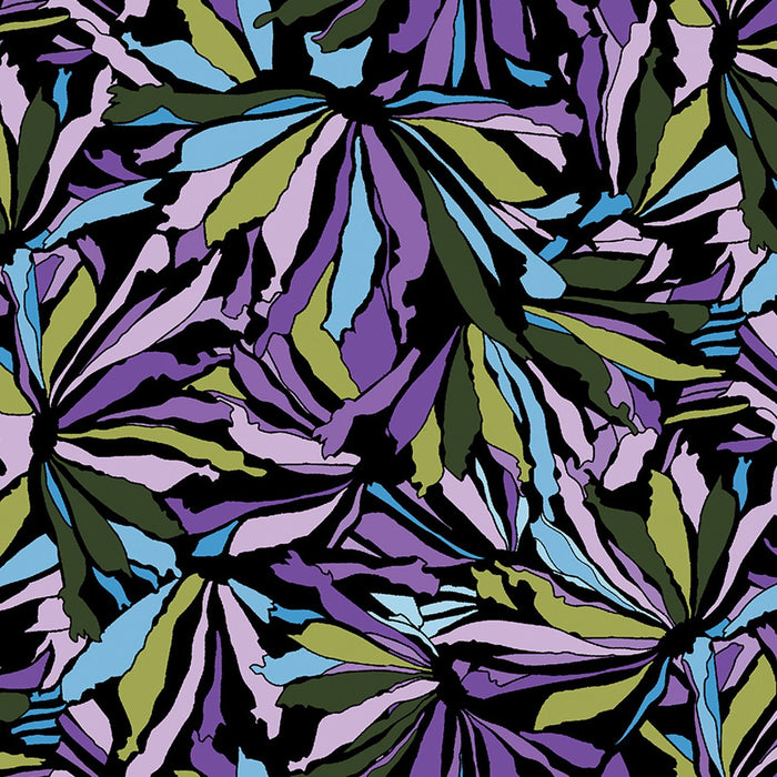 NEW! Midnight Poppies by Ann Lauer -Grizzly Gulch Gallery - per yard -GORGEOUS! Purple, pink, blue! Criss Cross Fuchsia Purple Dot on Black - RebsFabStash