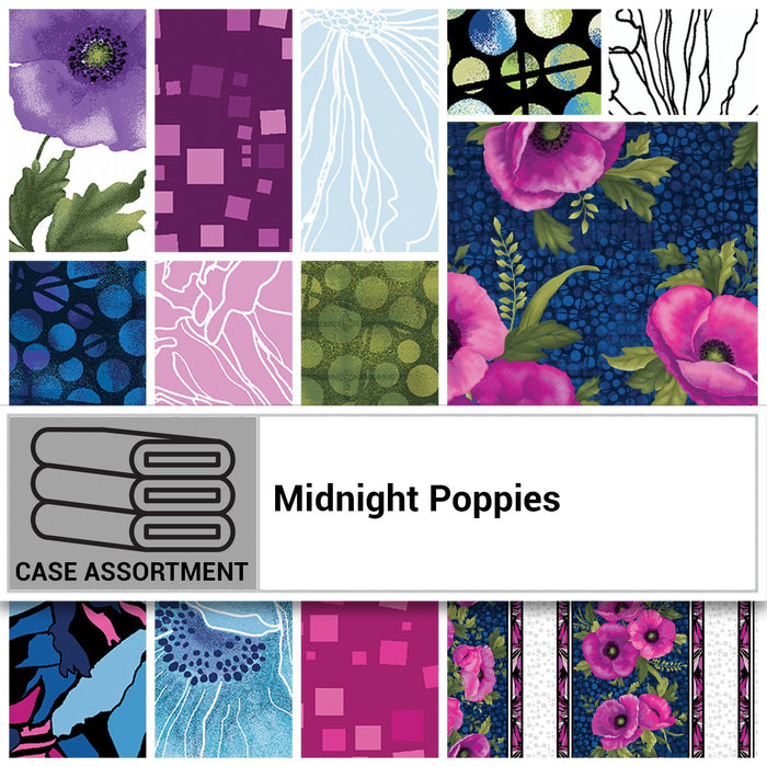 NEW! Midnight Poppies by Ann Lauer -Grizzly Gulch Gallery - per yard -GORGEOUS! Purple, pink, blue! Criss Cross Texture Dot Green - RebsFabStash