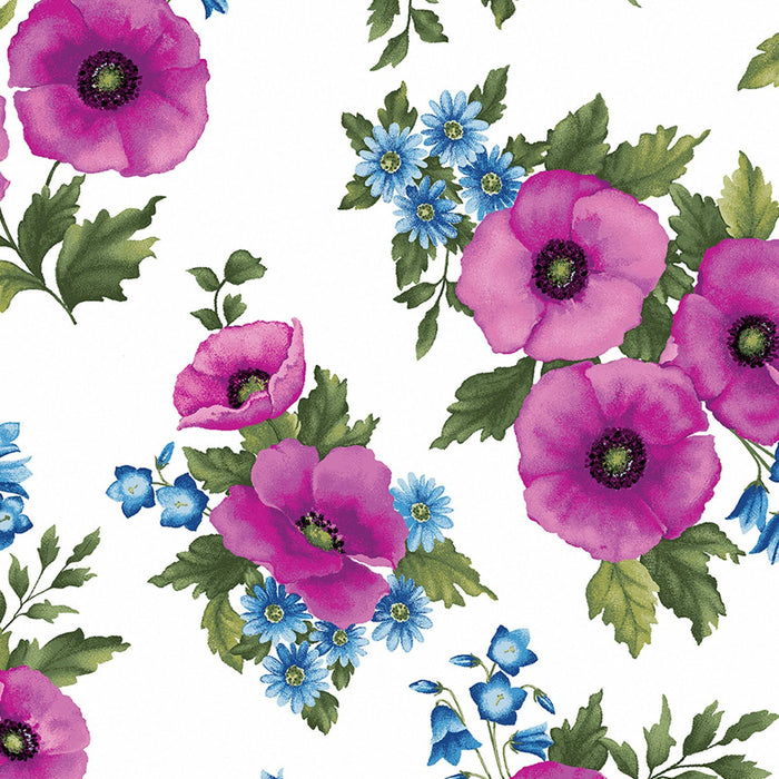 NEW! Midnight Poppies by Ann Lauer - Grizzly Gulch Gallery - per yard - GORGEOUS! Purple, pink, blue! Tossed Fuchsia Poppies on white - RebsFabStash